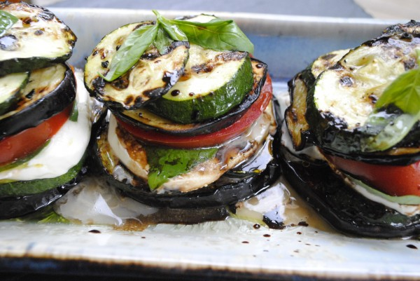 Aubergine, Courgette, Tomato & Mozzarella Towers